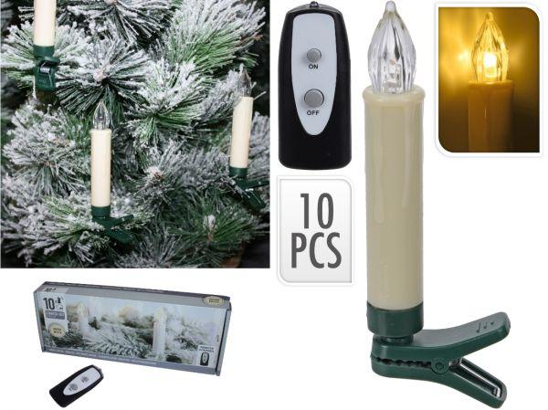 Christbaumkerzen mit 10 LED Kerzen inkl. Fernbedienung
